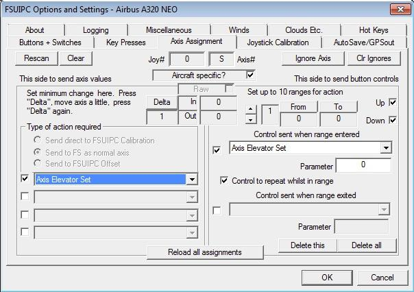 FSUIPC Axis assignment instructions - FAQ - AEROSOFT