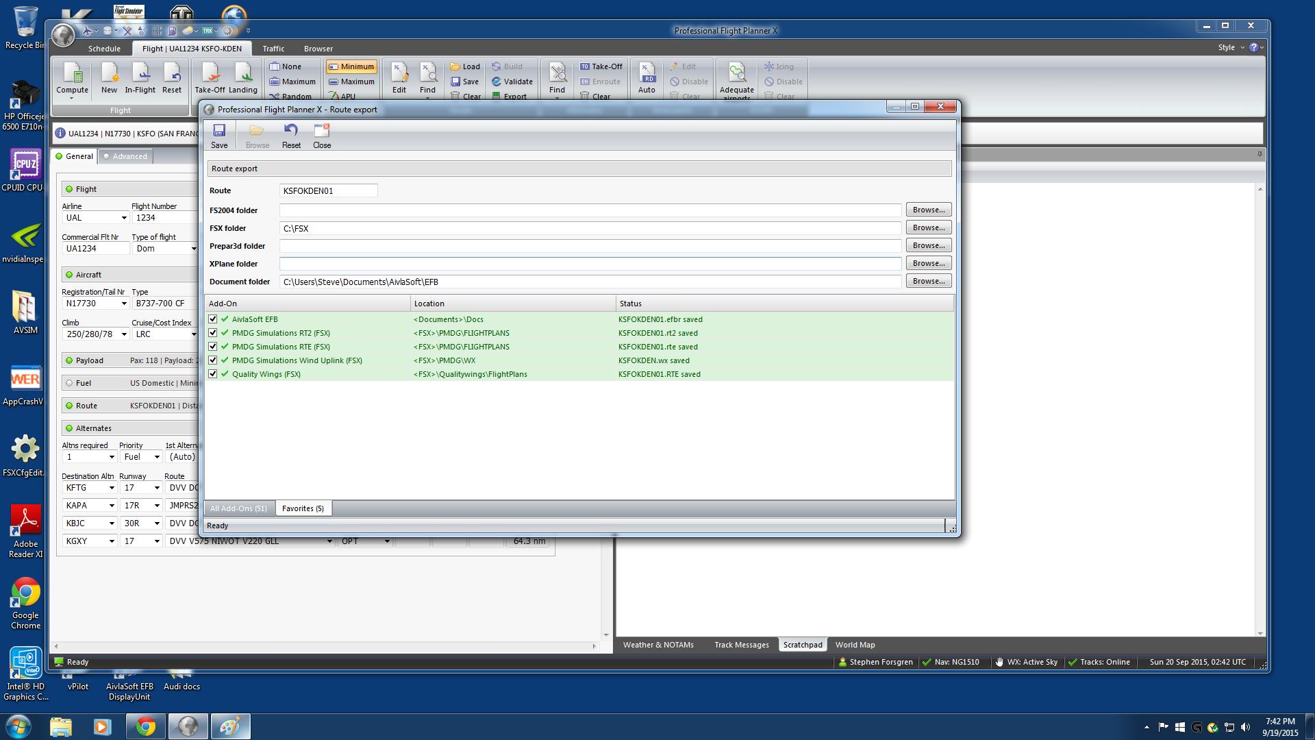 PFPX, Aeorsoft, Aivlasoft exporting problem - PFPX