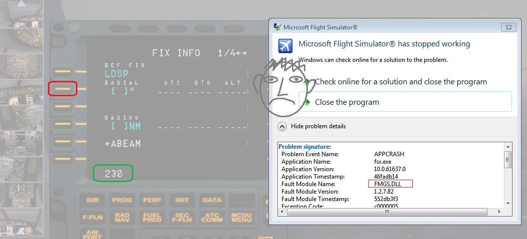 FSX Crash when inserting radial fix - MCDU (Left side) - AEROSOFT