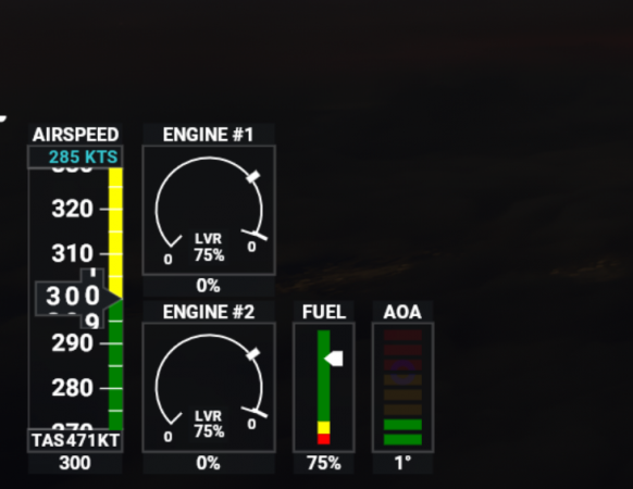 Throttle on joystick is at max 100% the aircraft only gets 75%.PNG